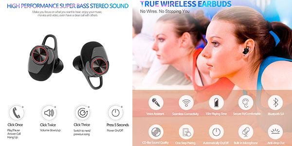 Mini auriculares Minluk Bluetooth 5.0 con cancelación de ruido baratos