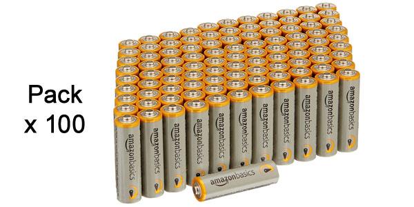 Paquete de 100 pilas alcalinas AA AmazonBasics de 1,5 V barato en Amazon