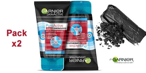 Pack x2 Gel limpiador y exfoliante facial 3 en 1 Garnier Skin Active Pure Active con carbón barato en Amazon
