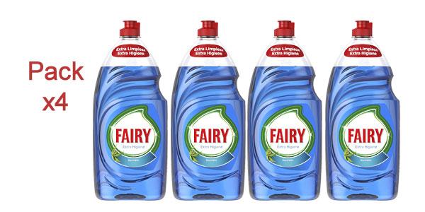 Pack x4 Fairy extra higiene eucalipto lavavajillas a mano concentrado botella de 1015 ml barato en Amazon