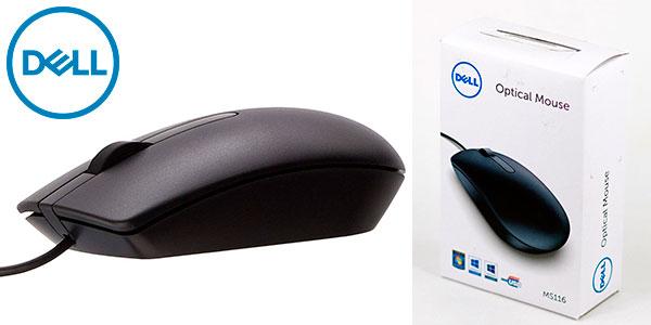 Ratón óptico Dell MS116 USB ambidiestro de 1.000 dpi barato