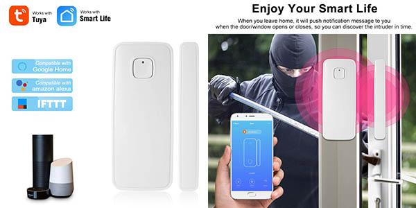 sensor para puertas Owsoo WiFi con cupón descuento en Amazon