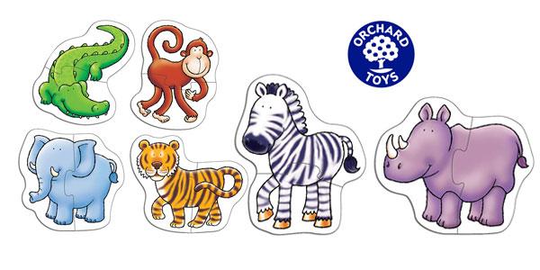 Set de 6 Puzzles Orchard Toys La jungla de animales de la selva de 2 piezas chollo en Amazon