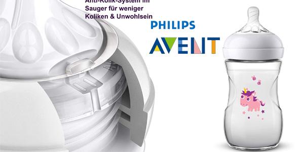 Set de regalo Philips Avent SCD287/25 Biberón Natural unicornio + 2 chupetes + pinza chollo en Amazon