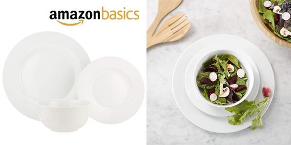Vajilla AmazonBasics de 18 piezas para 6 personas chollo en Amazon