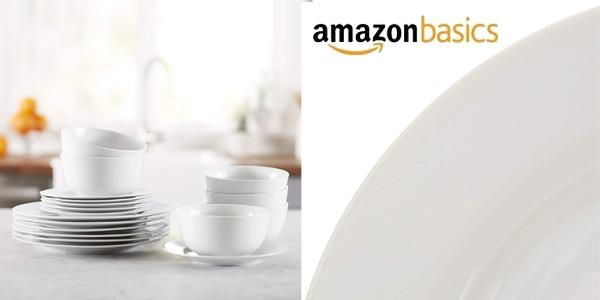Vajilla AmazonBasics de 18 piezas para 6 personas chollazo en Amazon