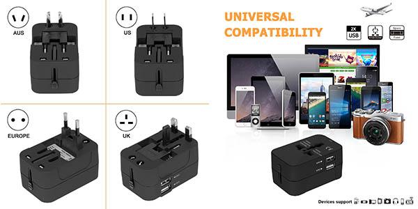 adaptador enchufe para viajar Surwell para cargar móviles y dispositivos con relación calidad-precio estupenda