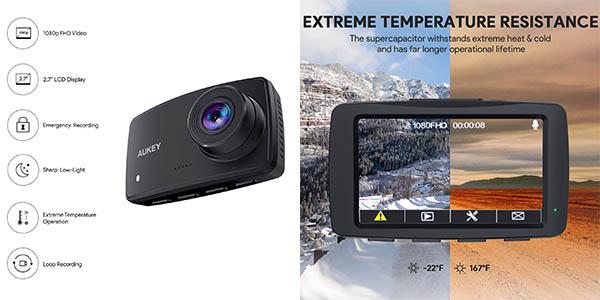 cámara de seguridad para el coche Aukey Dash Cam barata