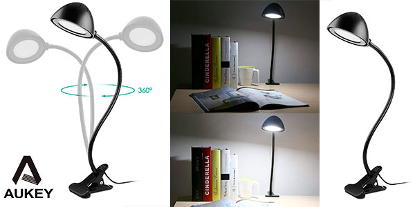 Chollo Lámpara Flexo LED Aukey LT-ST8 con pinza
