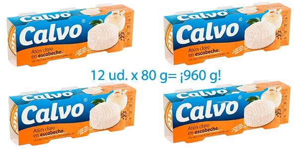 Pack 12 latas de atún claro Calvo en escabeche muy barato