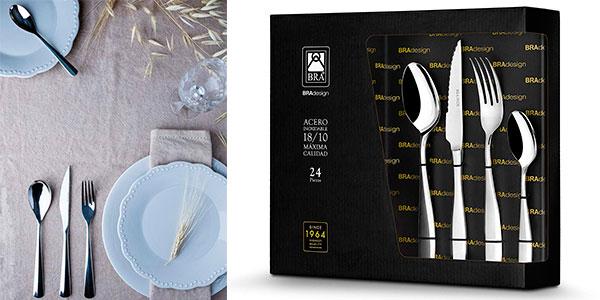 Set de 24 cubiertos BRA Torino de acero inoxidable 18/10 pulido barato