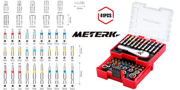 Chollo Set Meterk MKSB02 de 41 puntas de destornillador con llave de carraca reversible