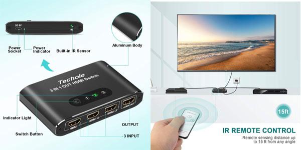 Conmutador HDMI 4K Switch de 3 puertos con mando en oferta en Amazon