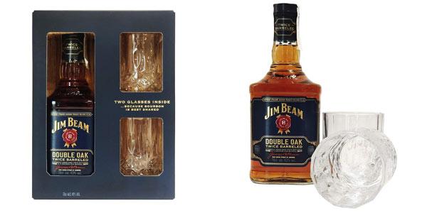 Estuche con 2 vasos Whisky Jim Beam Doble Cask barato en Amazon