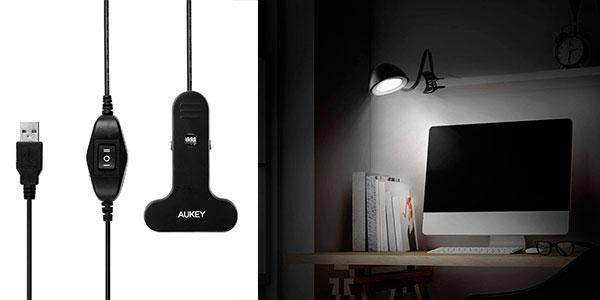 Lámpara Flexo LED Aukey LT-ST8 con pinza barata