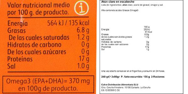 Pack 12 latas de atún claro Calvo en escabeche barato