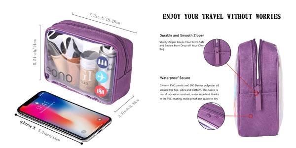 Pack de 2 neceseres transparentes Eono Essentials para cabina de avión en oferta en Amazon