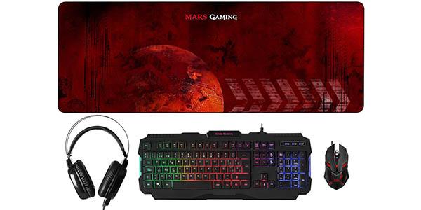 Pack Mars Gaming MCPRGB de teclado, ratón, auriculares y alfombrilla