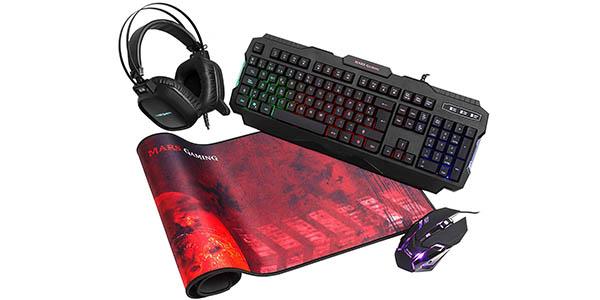 Pack Mars Gaming MCPRGB de teclado, ratón, auriculares y alfombrilla barato