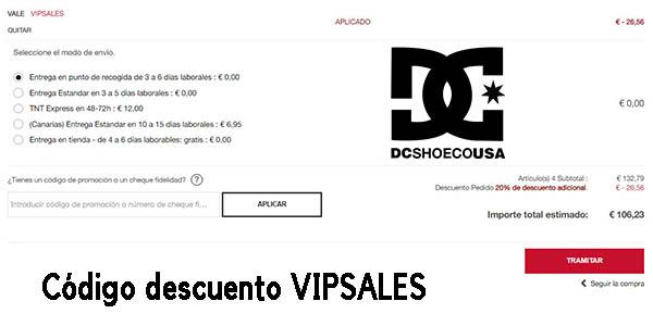 ropa casual DC Shoes código descuetno VIPSALES