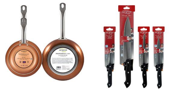 Set de 3 sartenes + 4 cuchillos + 3 utensilios San Ignacio Copper Plus barato en amazon