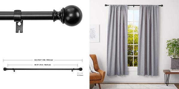 Barra para cortinas AmazonBasics con remates redondeados barata en Amazon