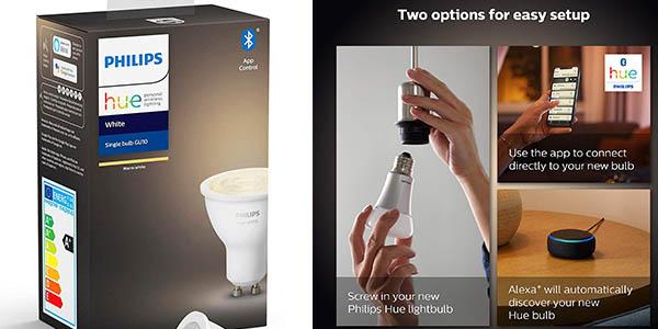 bombilla LED GU10 Philips Hue Control con aplicación móvil chollo