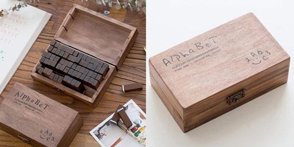 Caja de sellos de madera Aibecy con alfabeto inglés barato en Amazon