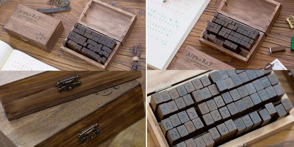 Caja de sellos de madera Aibecy con alfabeto inglés chollo en Amazon