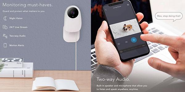 Cámara vigilabebés Nooie 1080P HD con Wi-Fi barata