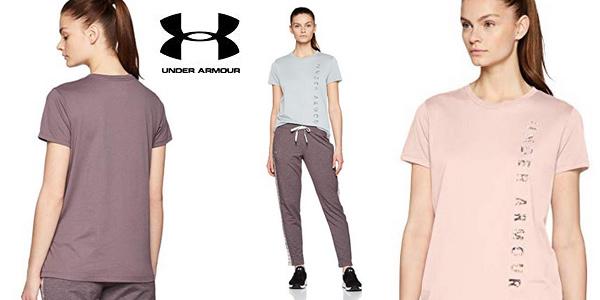 Camiseta deportiva Under Armour Vertical WM Graphic Classic Crew para mujer barata en Amazon