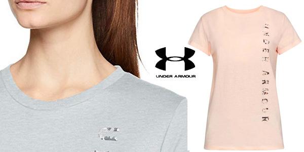 Camiseta deportiva Under Armour Vertical WM Graphic Classic Crew para mujer chollo en Amazon