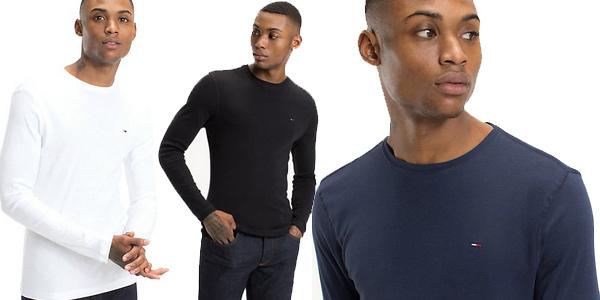 Camiseta manga larga Tommy Jeans Hombre Original Rib para hombre barata en Amazon