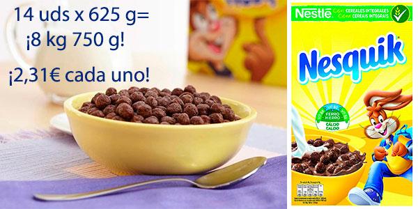 Lote de Cereales Nesquik de trigo y maíz tostados al cacao de 625 g en oferta