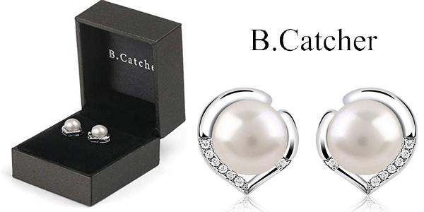 Pendientes B.Catcher ''El Lenguaje del corazón'' en Plata de Ley 925 con perlas baratos en Amazon