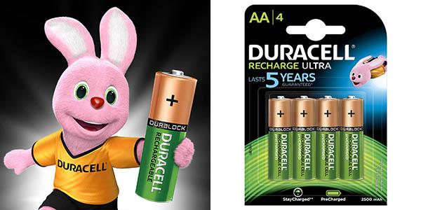 Pack x4 pilas recargables Duracell Recharge Ultra AA o AAA prerecargadas