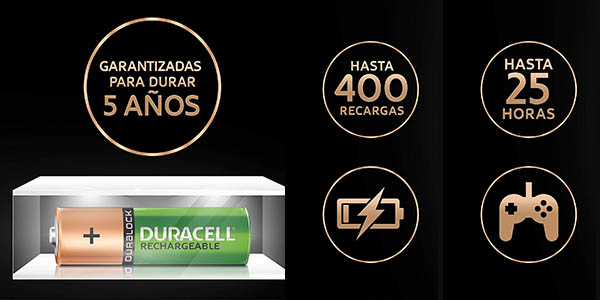 Pack x4 pilas recargables Duracell Recharge Ultra AA o AAA prerecargadas baratas
