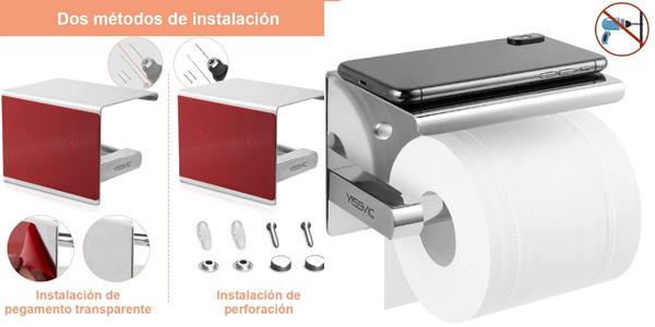 Portarrollo para papel higiénico con soporte para smartphone autoadhesivo o con tornillos barato en Amazon