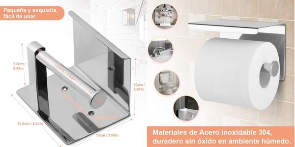 Portarrollo para papel higiénico con soporte para smartphone autoadhesivo o con tornillos chollo en Amazon