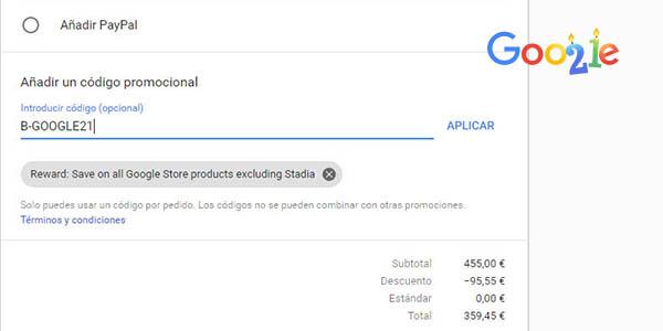 promoción en Google Store para el 21 aniversario con código descuento