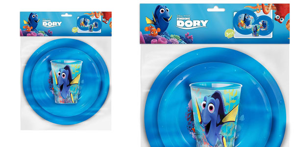 Set de plato, bol y vaso Buscando a Dory original de Disney Pixar chollo en Amazon