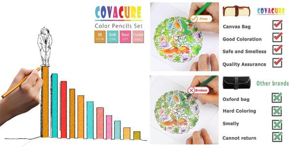 Set de 36 lápices de colores Covacure en estuche enrollable chollo en Amazon