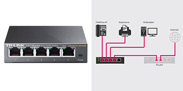 Conmutador de red TP-Link TL-SG105E Gigabit de 5 puertos en Amazon
