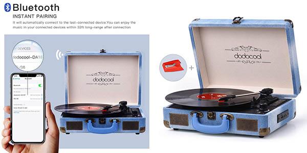 tocadiscos Dodocool de estilo vintage y bluetooth oferta