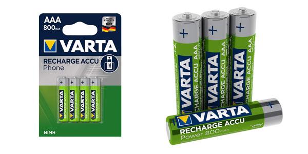 Pack 4 pilas recargables Varta AAA baratas en Amazon