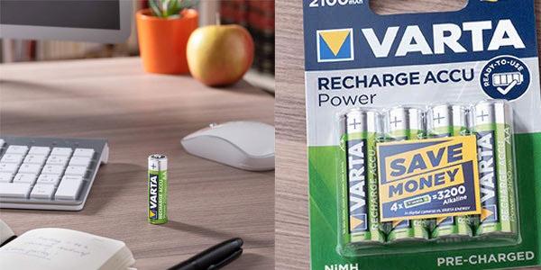 Pack 4 pilas recargables Varta AAA en oferta en Amazon