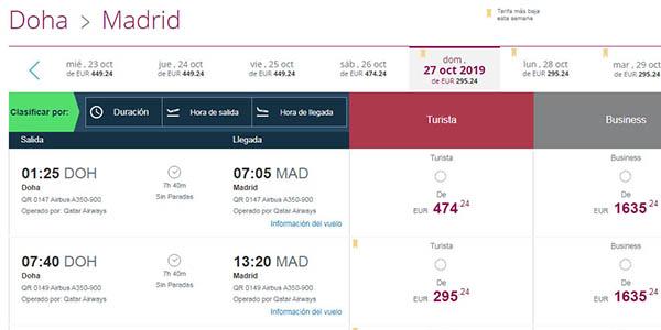 vuelos Doha baratos en Qatar Airways otoño 2019