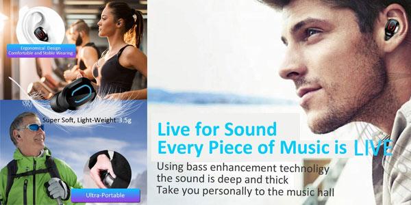 Auriculares TWS Bluetooth 5.0 Bakibo económicos en Amazon