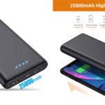 Batería externa de alta capacidad VOOE de 25800 mAh barata en Amazon