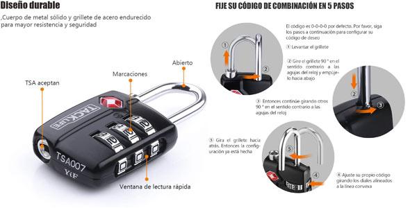 Candados con cerradura TSA para maletas Tecklife en oferta en Amazon